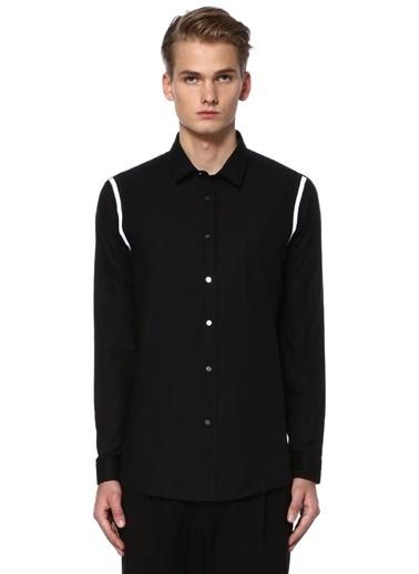 Omuzları Çizgi Detaylı Uzun Kollu Gömlek-Academia